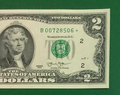 2013 $2 Choice Uncirculated New York *** STAR ***  Old US Currency