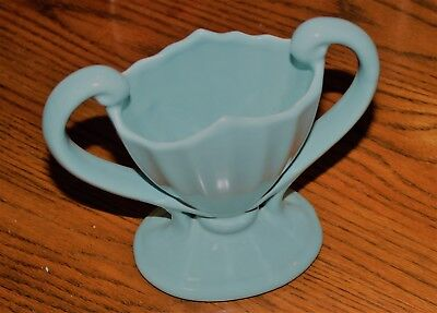 Vintage 1960's USA Double Handled Trophy Planter McCoy Pottery Turquoise