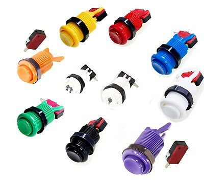 8 Colors & 1P/2P American Style 28mm Standard Arcade Push Button w/Microswitch
