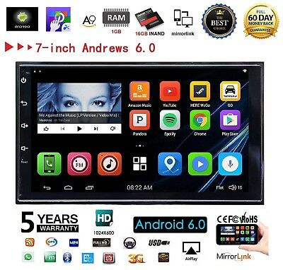 "7"" 2 DIN Car Radio Stereo Android 6.0 Quad Core MP5 Player 3G WIFI GPS Nav HOT"