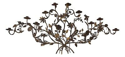 19th Century French Floral 12 Candle Iron Wall Candelabra