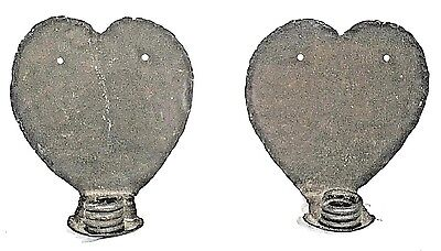 PAIR EARLY 20th CENTURY ARTS+CRAFTS WROUGHT IRON HEART BACK CANDLE SCONCES