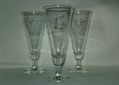 Princess House Heritage Floral Etched Cut Glass Pilsners Item #442 Set of 3
