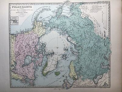 Lg. Antique PERTHES 1875 Map of the North Polar Region
