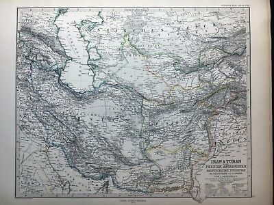 Lg. Antique PERTHES 1875 Map of the Persia, Afghan, Caucasus, Caspian