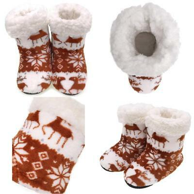 Moggei Warm Christmas Deer Fuzzy Winter Home House Slipper Shoes For Kids Girls