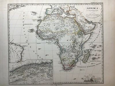 Lg. Antique PERTHES 1874 Map of Africa.