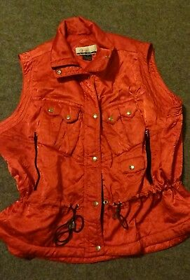 VEST Women's RED Zipped Pockets Plus Sz 3X Silky