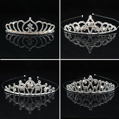 ES_ Rhinestone Hollow Princess Crown Headwear Tiara Girl Kids Hair Accessory Fas