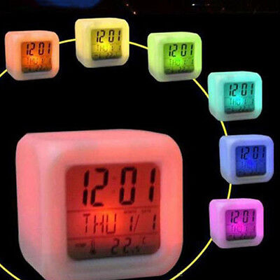 ES_ 7 Colour Alarm Clock LCD Snooze Backlight Digital Desk Time Thermometer Surp