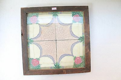 "Antique ""Set Of 4 Pc"" Majolica Flower Design Architectural Beautiful Tile NH3293"