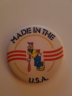 Disney Goofy Pin/ Button Vintage Made In The Usa