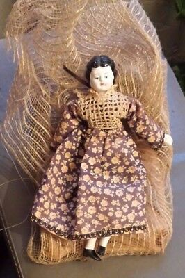 "Small 8"" Vintage Antique German China Doll Low Brow Hair"