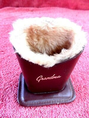 Vintage Grandma's  Bedside  Table  Leather And Wool Glasses Case/stand