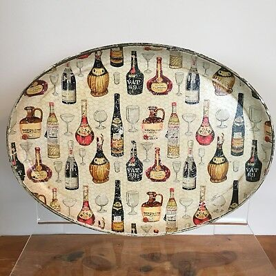 Vintage Oval Drinks Tray with Bottle and Glass Design 14 inches x 10 Inches