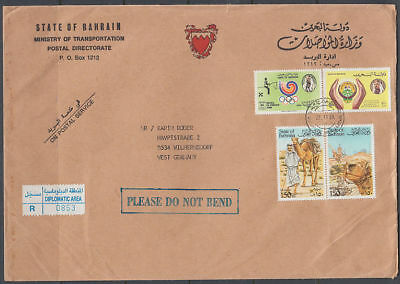 1989 Bahrain R-Cover to Germany, Kamele Camels Olympische Spiele [ck091]