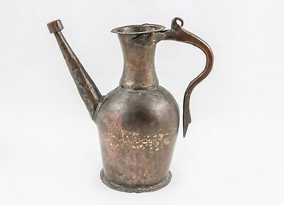 Antique Islamic Ottoman Tinned Copper Ewer, 19th century