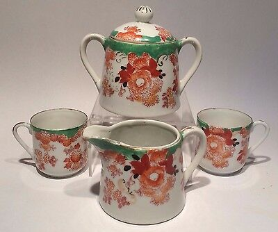 ANTIQUE/VINTAGE EARLY 20th C JAPANESE SATSUMA TEA SET 4 PIECE HAND PAINTED JAPAN