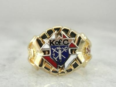 Vintage Gold and Enamel Knights of Columbus Ring