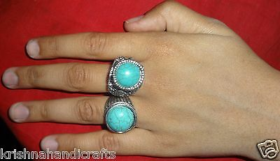 Vintage Look Fine Hand Carved Stone Fitted Engagement Ring Pair
