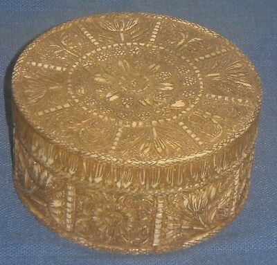 Vintage Look Fine Hand Made Flower Carving On Solid Camel Bone  Box