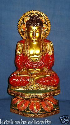 Vintage Look Fine Hand Carved Pure Gold Leaf Painted Wooden Buddha Statue Figure