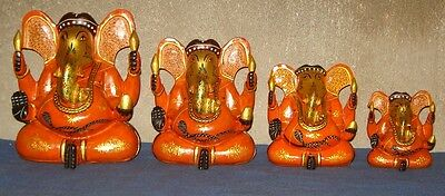 Vintage Look Fine Gold Leaf Work Hand Made Painted Wooden Ganesh Set Of 4 Pcs