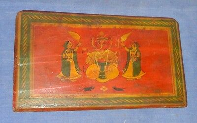 Vintage Old Antique Hindu Religious Painted Wood Manuscript Book Cover Bikaner