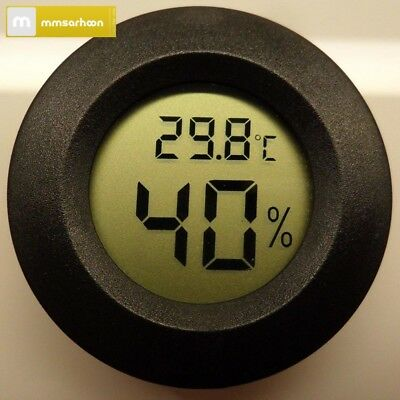 Digital Cigar Humidor Hygrometer Thermometer Temperature Round Black Face