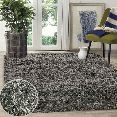 Silver Grey & Anthracite Mixed Thick Plain  Shaggy Rug Non Shed Pile Modern Rugs