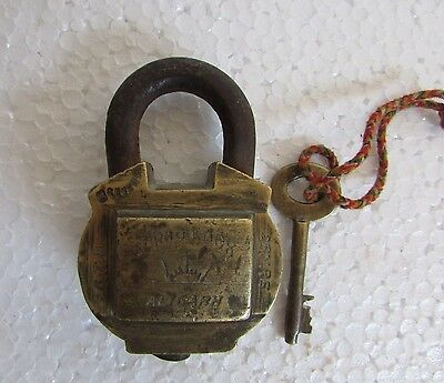 Vintage old Brass Suraj lock, Aligarh  6 lever Padlock With 1 key  Collectible