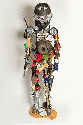 "Life Size 6'3"" Vintage robot folk art steam punk"
