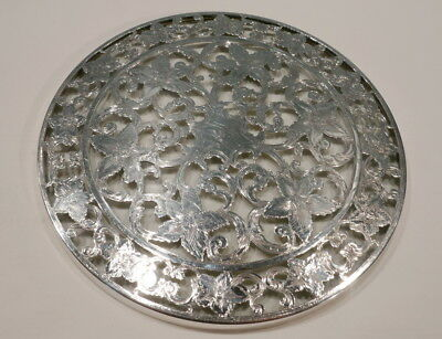 WEBSTER Silver Heavy STERLING Overlay Art Nouveau TRIVET Hot Plate Floral 1910