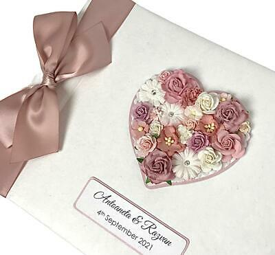Personalised Wedding Guest Book LARGE Vintage Floral Heart Various Colours