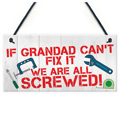 5X(U Grandad Fix It Screwed Man Cave Garage Shed Hanging Plaque Dad Gift Sign Fu