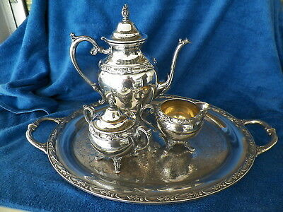 """vntg ROGERS SILVERPLATE """"EXQUISITE"""" 4PC TEA/COFFEE SERVICE"""