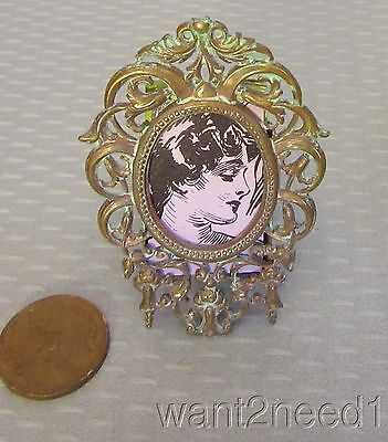 "old vtg repousse BRASS ROCOCO MINIATURE PICTURE FRAME 2.25"" easel back"