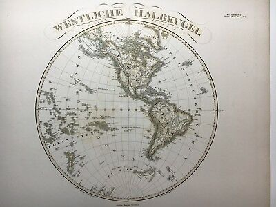 Pair (2) of Large Antique PERTHES 1859 Maps of the Earth Hemispheres MAP Globe