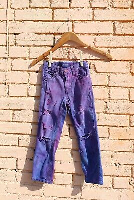 Old Navy Boys Girls 5 Distressed Ripped Straight Denim Kids Pants Dyed Colored