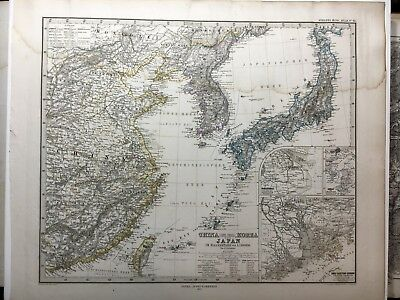Lg. Antique PERTHES 1872 Map of CHINA, KOREA, JAPAN