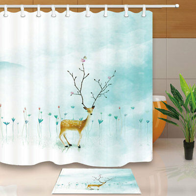 Cute Small Deer In Flower Field Bathroom Shower Curtain Set 71 Inches & Hook