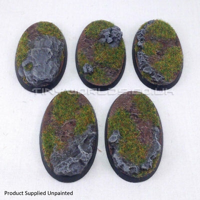 60 x 35mm Small Oval Rock / Slate Scenic Resin Cavalry Bases Round Warhammer 40K