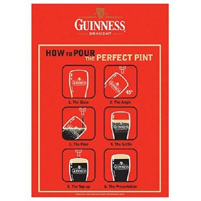 Guinness How to Pour the Perfect Pint Beer Bar Ireland Dublin Metal Tin Sign New