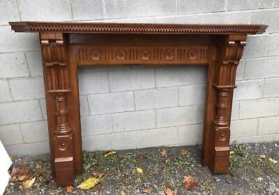 Victorian Carved Walnut Fireplace Mantel