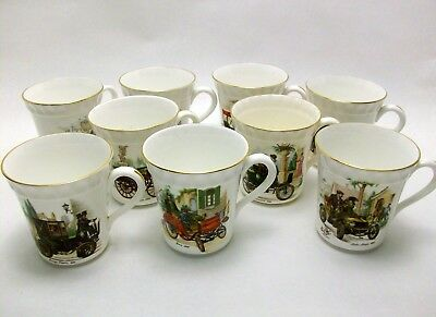 Crown Staffordshire England China Antique Car Coffee Mugs Tea Cups SET OF 9 CUPS