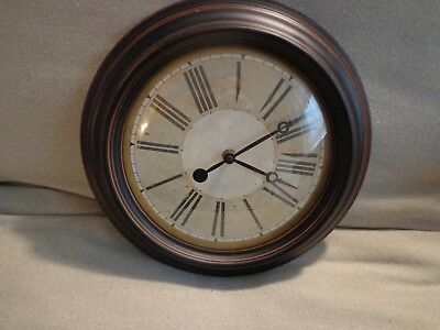 "Burnished Copper/bronze Finish Round 12"" Dia. Battery Operated Wall Clock-Euc"