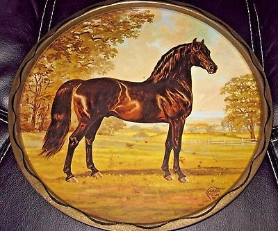 Jeanne Mellin 1966 Black MORGAN Horse Vintage Round Metal Tray Wall Hanging