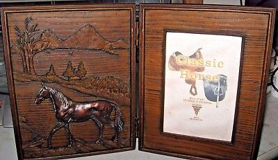 HORSE Picture Frame Hinged Desk Shelf 4x6 Photo Horse Woods Relief Dark Brown