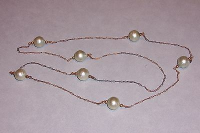 "Vintage brass / copper chain with pearlized light  green beads 34"" long   #N238"