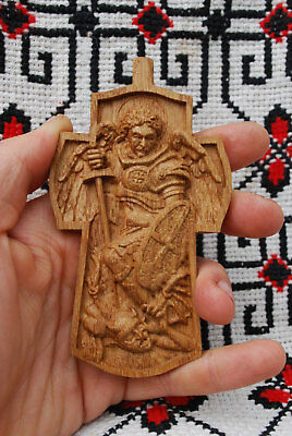 4 INCHES Pectoral Cross Archangel Michael WOOD CARVED wood gifts